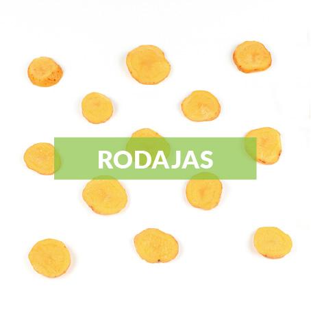 El corte en rodajas su medida depende de cada producto y es ideal para sofritos, toppings, sopas, gratinados, fritos, arroces, bowls y tamales.
